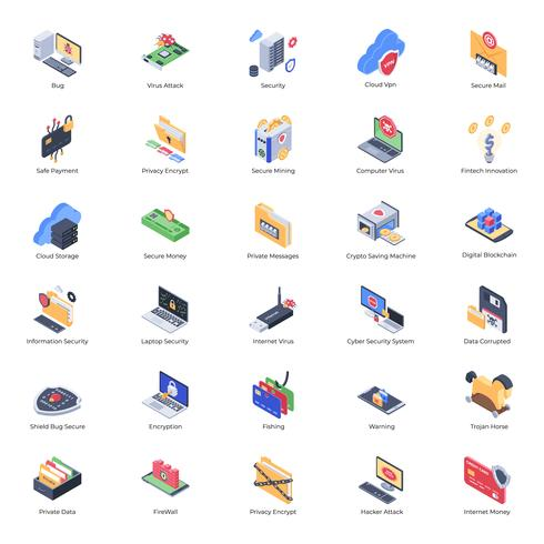 Iconos de seguridad cibernética y cifrado vector