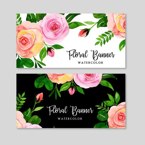 Aquarell Blumen Banner Set