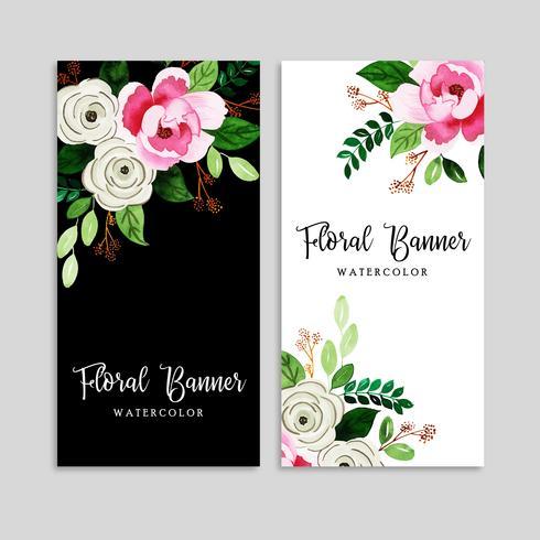 Watercolor Floral Banner Set