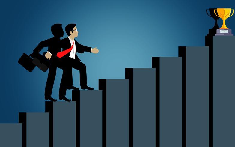 Los empresarios suben el gráfico de barras hacia la meta. destino vector