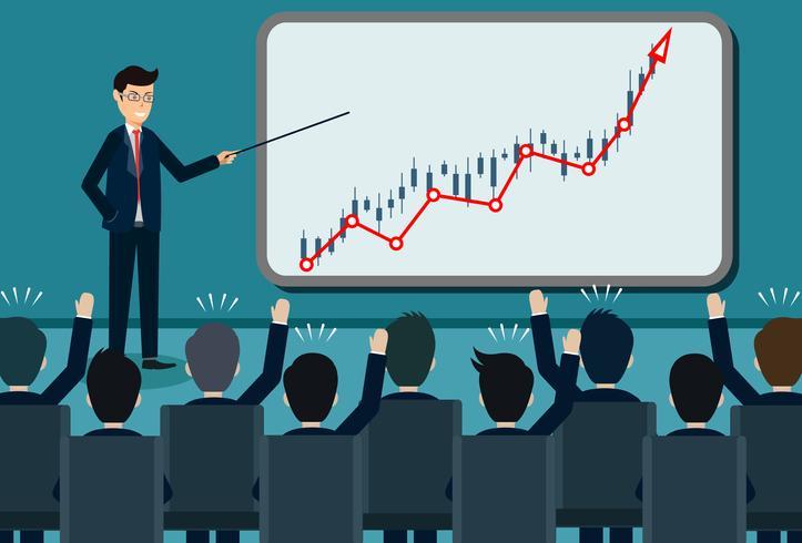 persona che dà una presentazione finanza aziendale in crescita