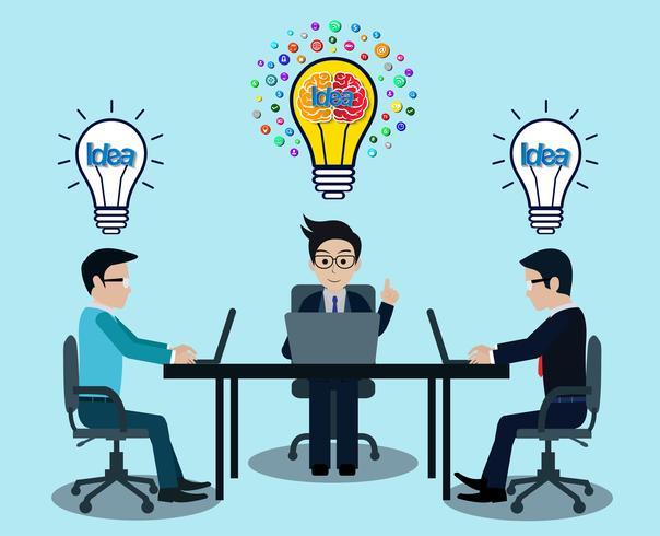 Geschäftsmann drei am Arbeitsplatz sitzen an den Schreibtischen mit Notebook