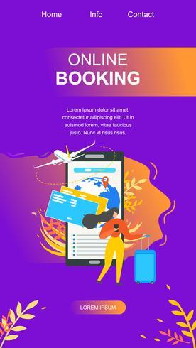 Pagina di destinazione piatta per il servizio di prenotazione online