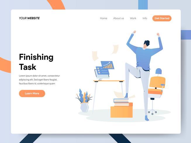 Modèle de page d'atterrissage du concept d'illustration de tâche de finition homme d'affaires vecteur