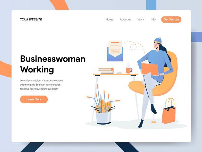 Modèle de page d'atterrissage de femme d'affaires travaillant sur un bureau vecteur