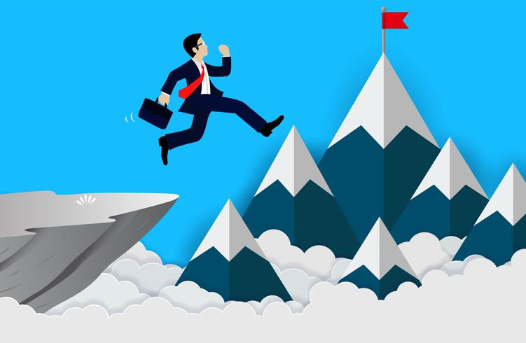 Businessman jumps from the cliff to achieve business finance success vector