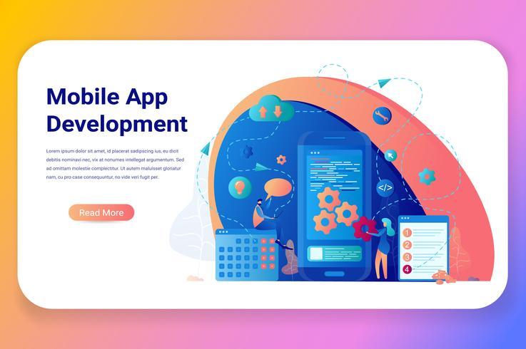 Banner de negocios de desarrollo de aplicaciones móviles vector