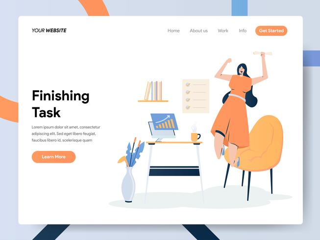 Landing page template of  Businesswoman Finishing Task  vector