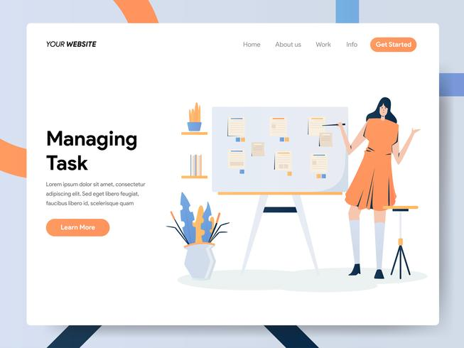 Landing page template of Businesswoman Managing Task On Board  vector