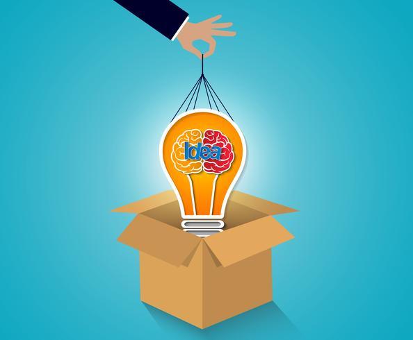 creatief idee concept. zakenman trek hersenen pictogram gloeilamp uit bruin. vector
