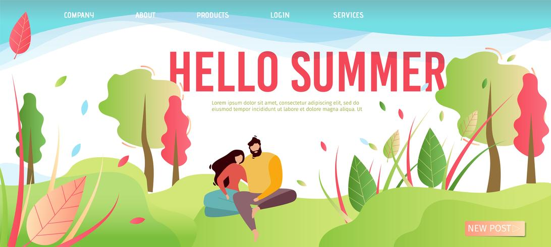 Hello Summer Greeting Cartoon Style Landing Page