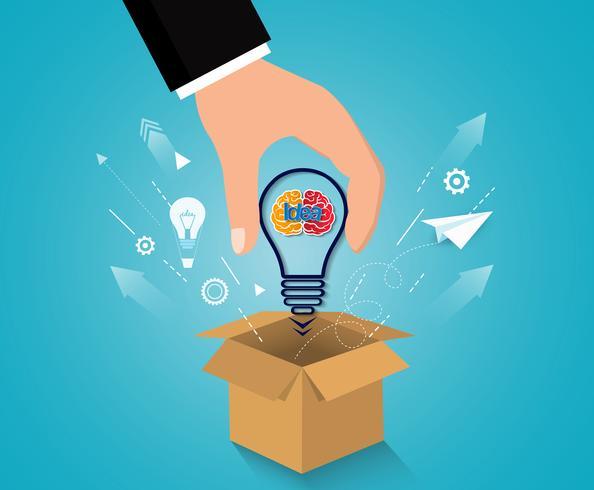 creatief idee concept. denk buiten de doos. vector