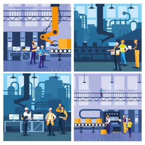 team work people in factory scene vector