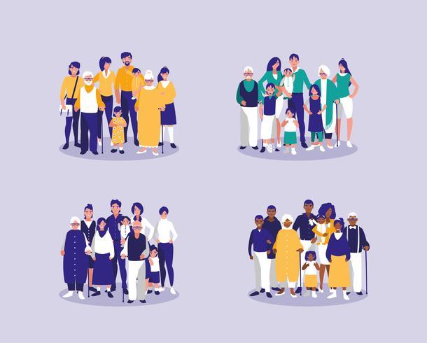 gruppo di membri della famiglia vettore