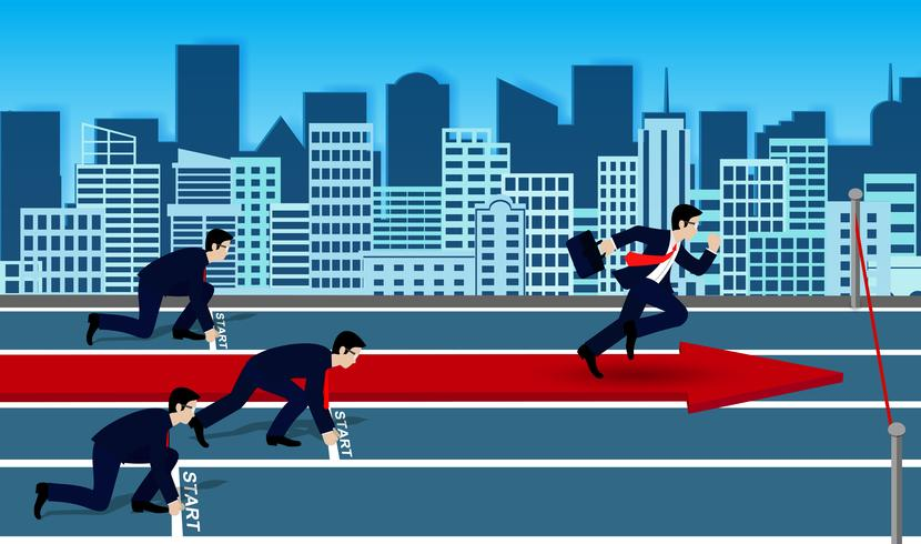 Competição de empresários corre para a linha de chegada para o sucesso nos negócios. vetor