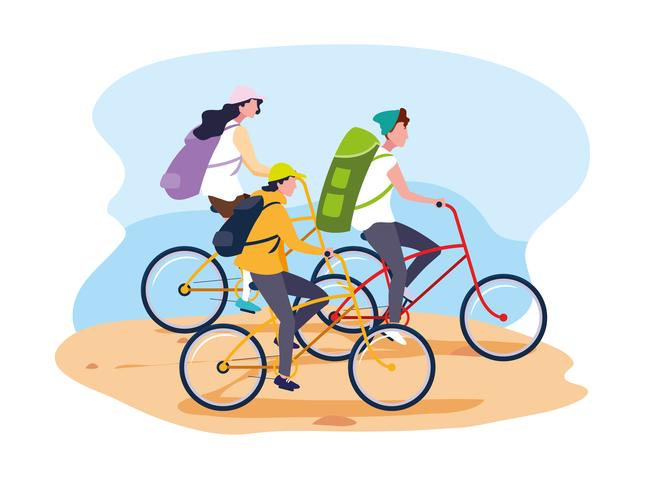 young people riding bikes vector