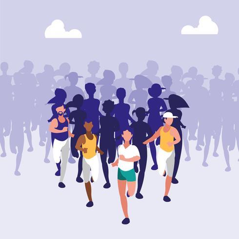 atletische mensen die een race rennen vector