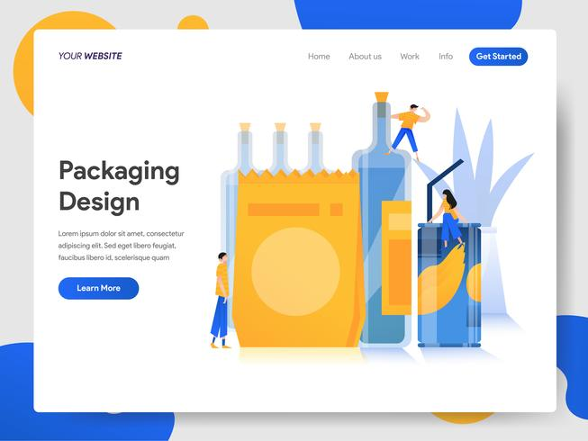 Landing page template of Packaging Design Illustration Concept vector