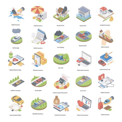 Insurance Concept Isometric Icons