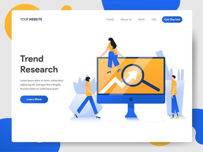 Plantilla de página de destino del concepto de ilustración de investigación de tendencias
