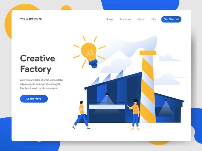 Plantilla de página de aterrizaje de Creative Factory Illustration Concept vector