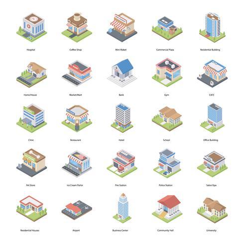 Pack de iconos isométricos de edificios vector