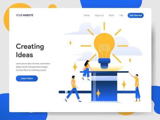 Modello della pagina di destinazione di creazione del concetto dell'illustrazione di idee