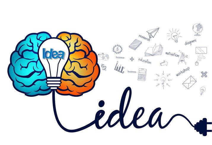 Kreativ idé för brainstorm med hjärnan och glödlampaikonen.