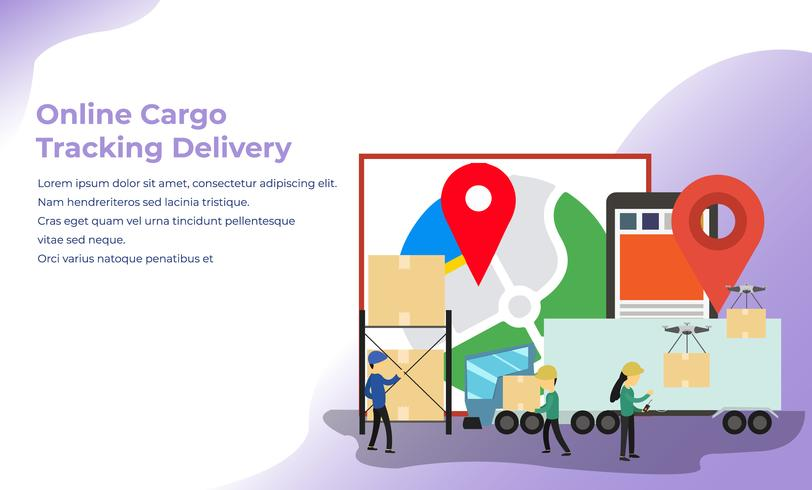 Online Cargo Tracking Delivery App - Download Free Vector