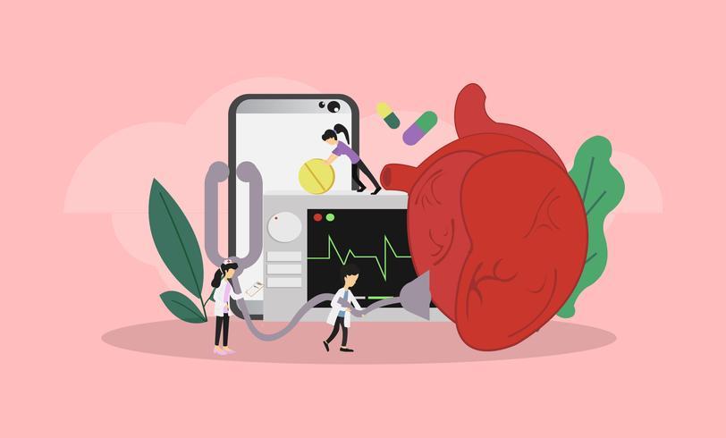 Herramientas de medicación para el corazón vector