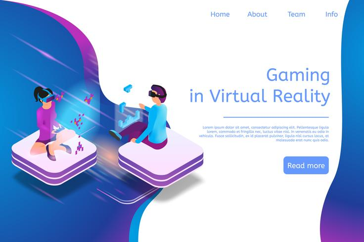 Isometric Banner Gaming in Virtual Reality in 3d