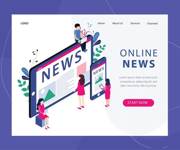 Online nieuws webpagina vector