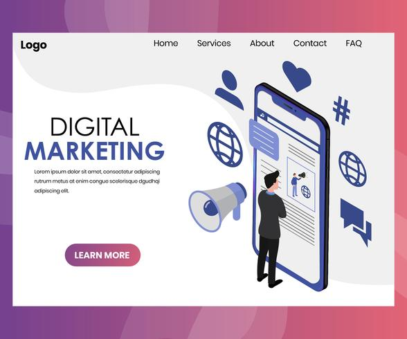 Digital Marketing Media Technology Isometric Graphic
