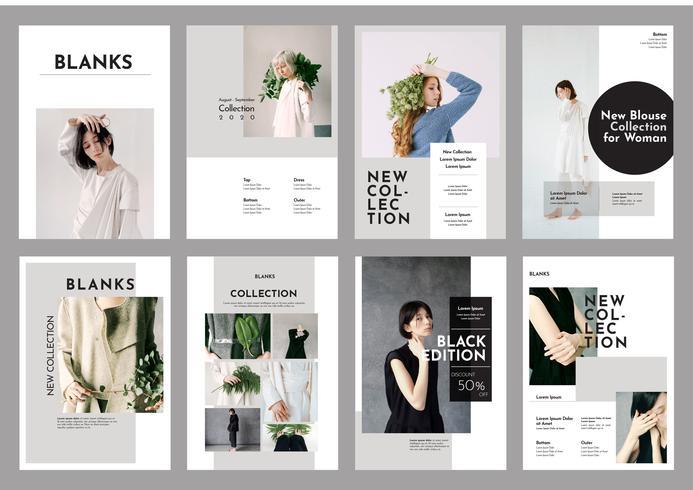 Vector de plantilla de folleto de Lookbook de moda