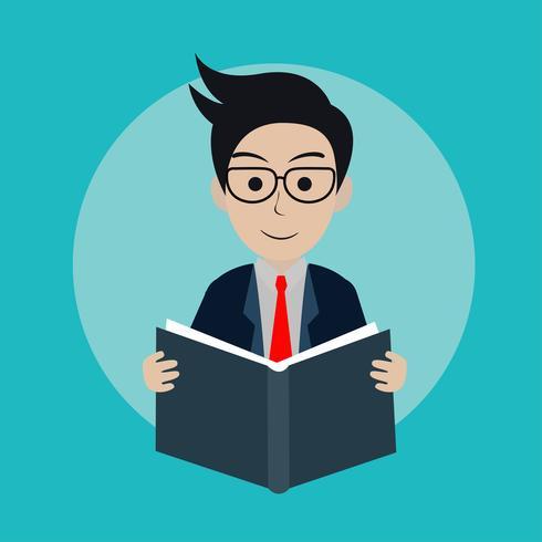 affärsman som läser en bok