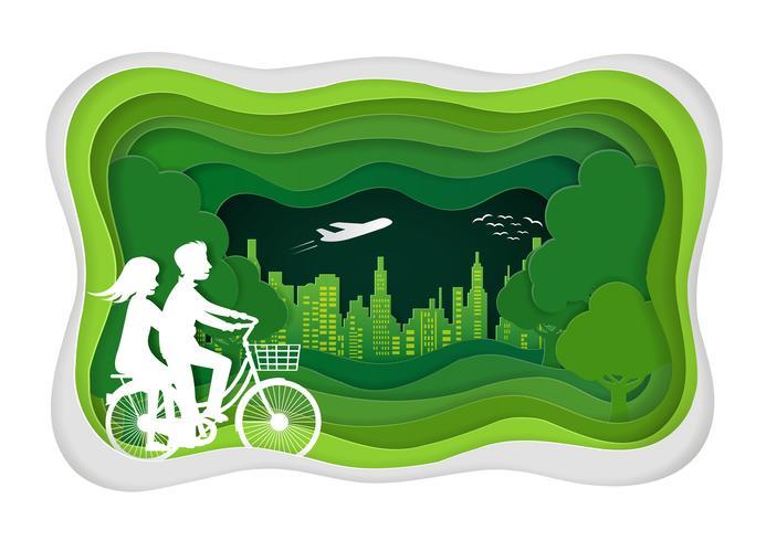 Les hommes et les femmes font du vélo dans la pelouse vecteur