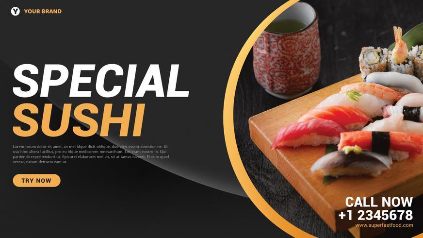 Página da Web de sushi vetor