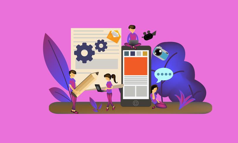 Page Web de gestion de contenu mobile vecteur
