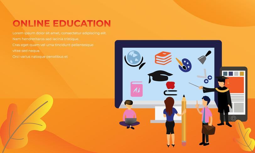 Online Distance Learning Education  vector