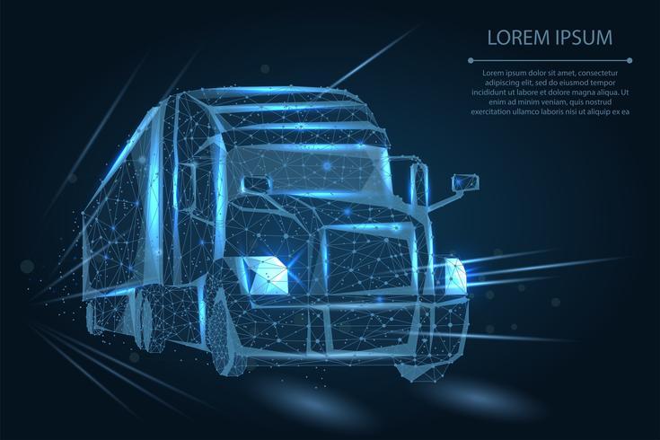 Semi camion poligonale vettore