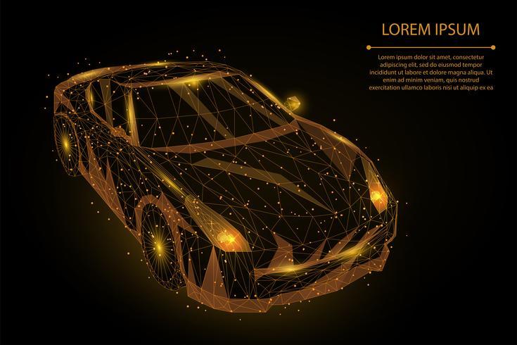 Guld polygonal rörelsesbil