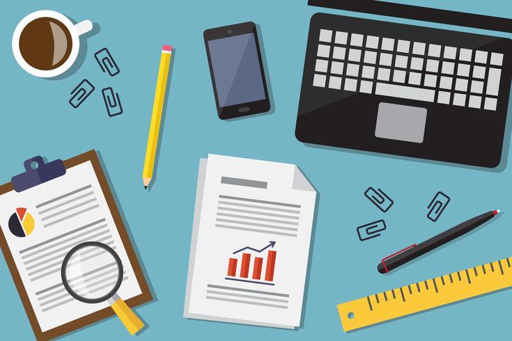 Business desktop flat vector