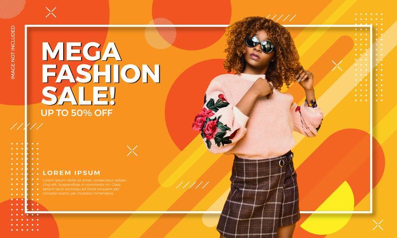 Bannière colorée de vente de mode