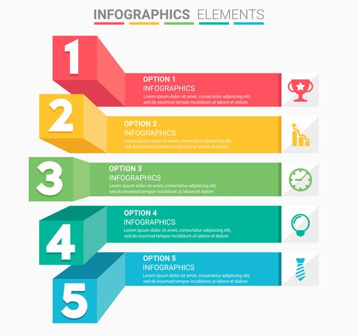 INFOGRAPHICS Business Staircase element design the number