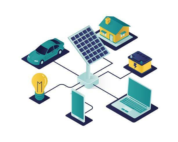 solar panel isometric illustration