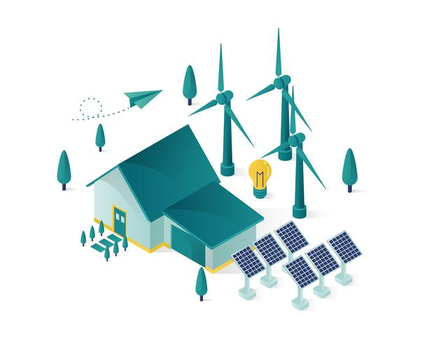 vector isométrico de la casa de energía renovable