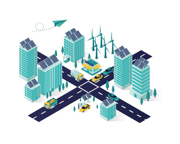 ilustração de cidade de energia renovável