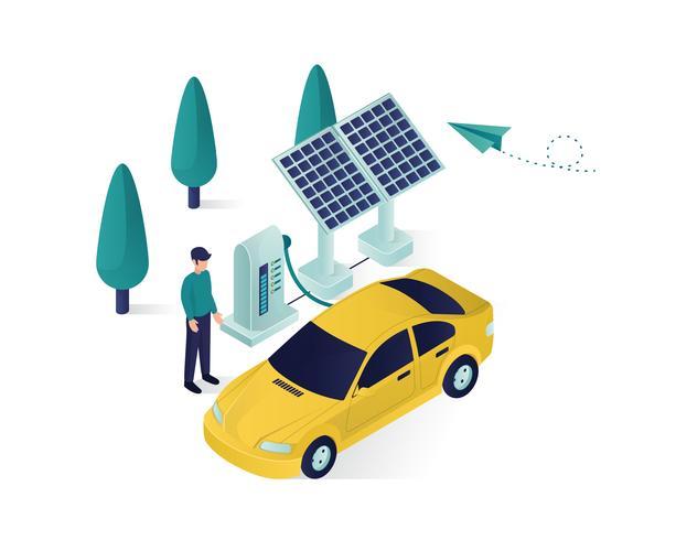 solar panel isometric  illustration vector
