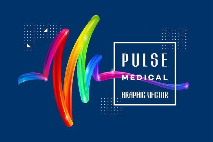Pulso médico colorido vetor
