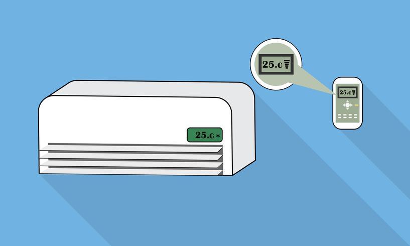 Condizionatore d'aria e telecomando su sfondo blu